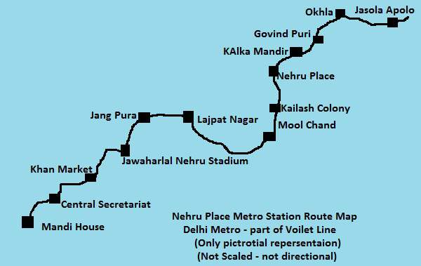 Nehru Place Metro Route Map